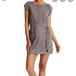 Joie Maroone short sleeve goat leather dress gray